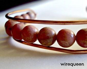 Wire Wrap Bohemian Bangle Copper and Rhodonite