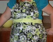 Black and Bright Green Floral Apron OOAK