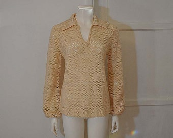 1960s sweater / A Dream in Creme Open Weave Vintage 60's Mod Dalton Cashmere Sweater