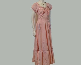 30s dress / Super Sweetness Vintage 1930's Taffeta Bias Cut Maxi Dress