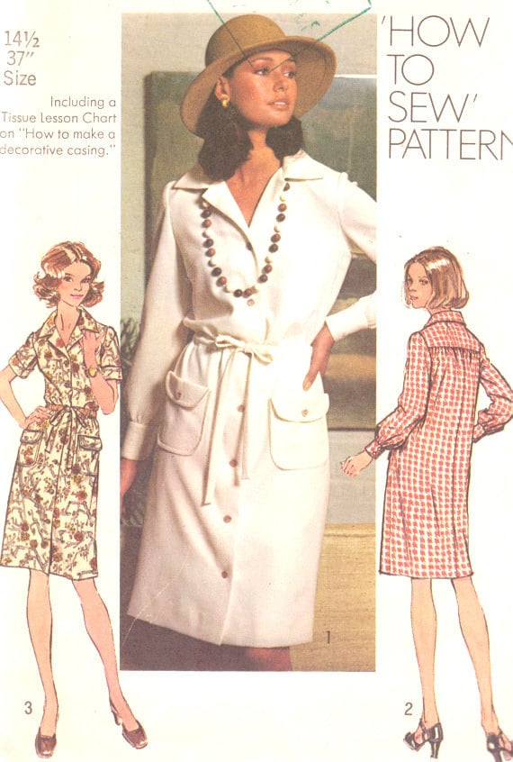 Vintage 1973 Misses Dress Size 14 1/2 Simplicity 5792 Sewing Pattern UNCUT