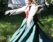 Green Cotton Straight Skirt and Natural 32 inch longChemise Ready to Go SCA LARP Renaissance
