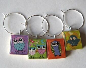 Fun Owl Scrabble Tile Wine Charms Set of 4