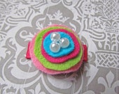 Multi-Color Bitty Posy - Wool Felt Mini Snap Clip