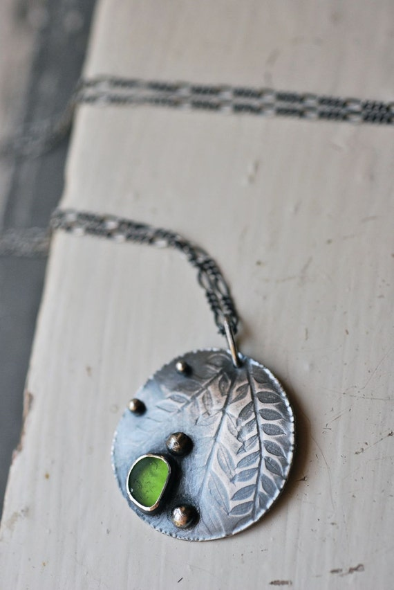 SALE Jacaranda Triple Frond Necklace with Mendocino County Green Sea Glass. Hammered edges. Sterling Spheres.