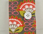 """Organizer Notepad Clutch """"INFINITY BLOOMS""""  in Charcoal & Hot Pink Paper and Pen are Included"""