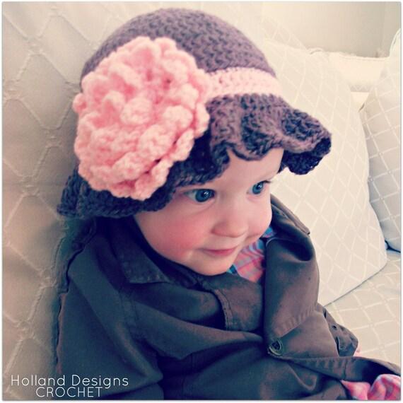 Download Now - CROCHET PATTERN Carnation Baby Cloche Hat - Pattern PDF