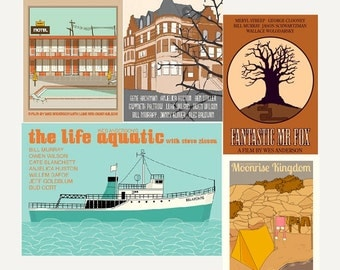 Movie posters Wes Anderson Collection set of FIVE 12 x 18 inches prints save 10%