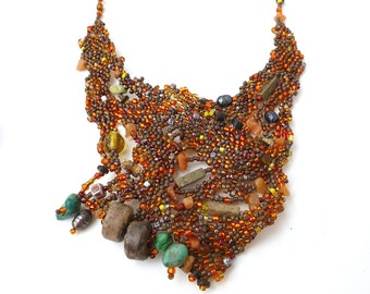 Free form peyote stitch bib necklace, FOREST in FAL XII, ooak beadwork, turquoise, brown beads, statement necklace, bohemian, Coachella