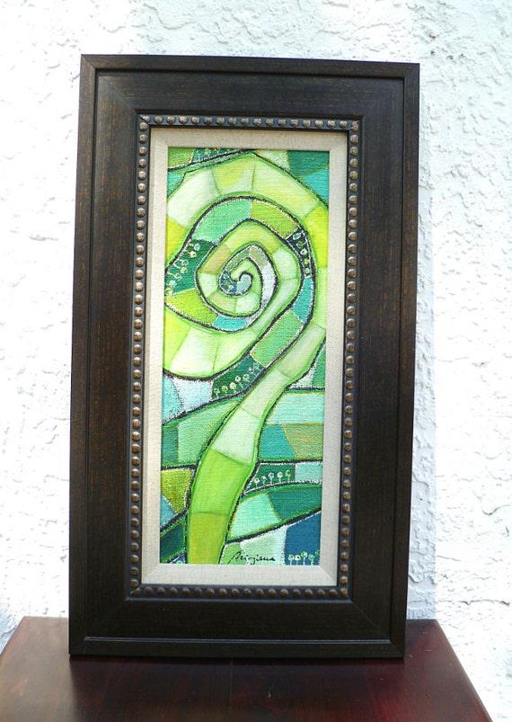 Non vitrage VI original mixed media framed art, swirl, spring, home decor, acrylic on burlap, collectible, ready to hang