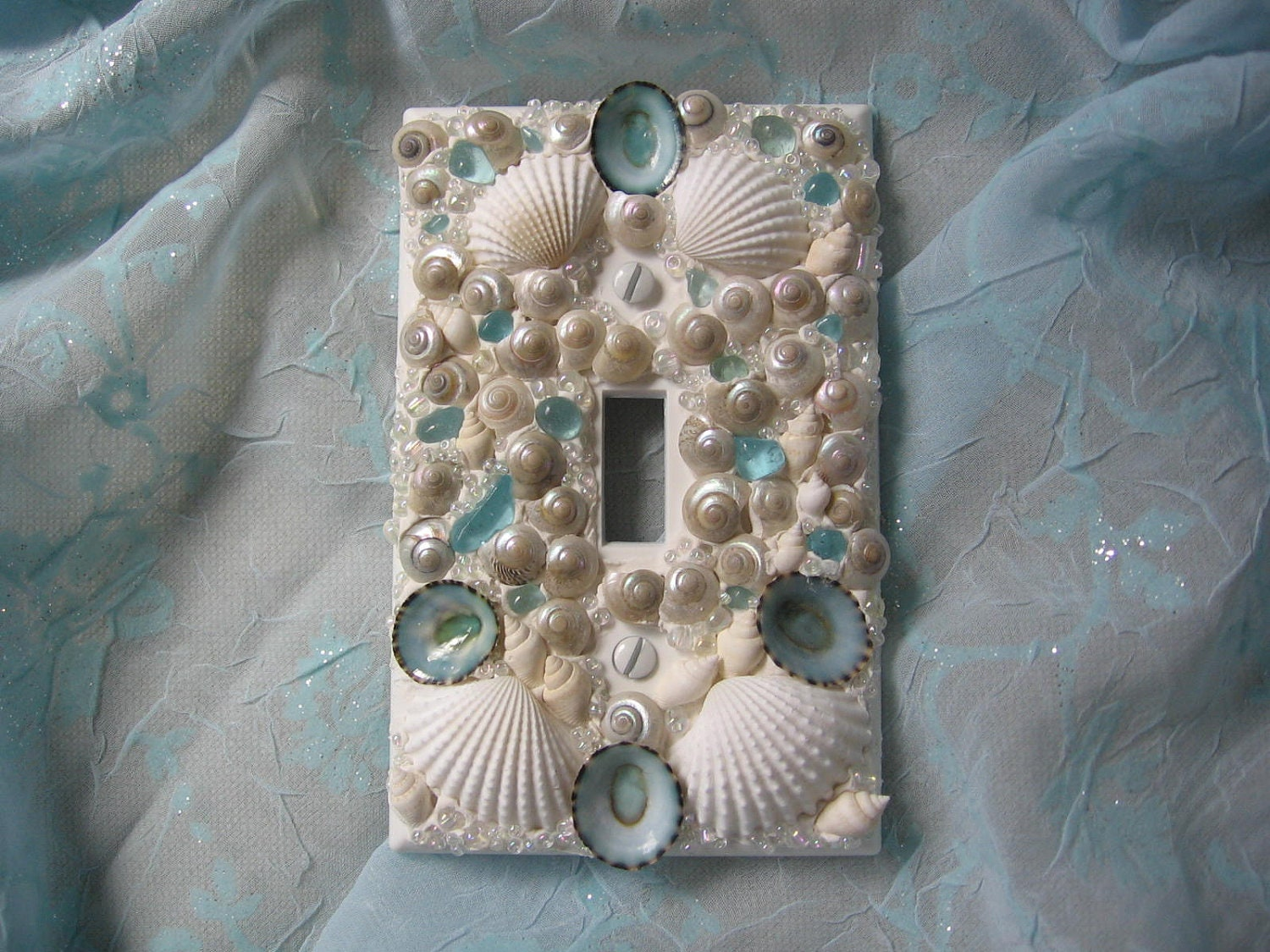 seaglass and seashell light switch plate cover single