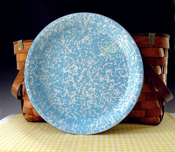 Vintage Enamelware Tray Graniteware Plate Blue and White Spatterware HUGE
