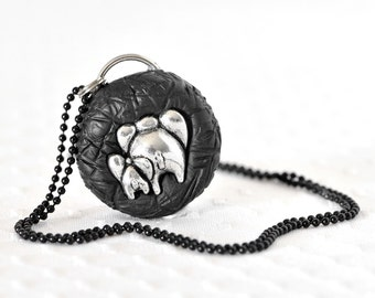 New Mom Necklace. Mothers Day Mama /Baby Elephant Butts Jungle Safari Jewelry in Black Polymer Clay Cute Gift for Unisex Baby Showers