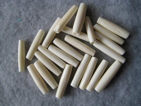 """10 Bone Tube Beads 1"""""""
