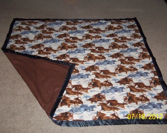 Homemade, Fleece Blanket, Horses running