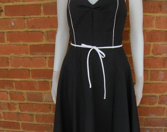 Vintage 80s Black Full Skirt Tea Dress / Jerell of Texas / Sz S-M