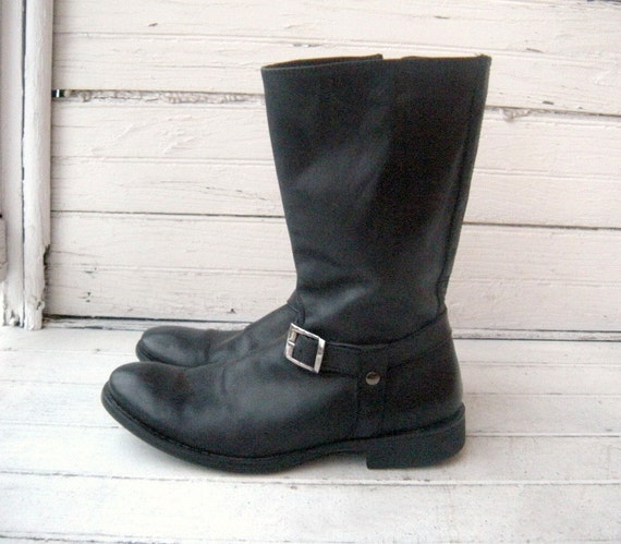 Vintage Black Leather Cox Motorcycle Boots / Mens 10.5-11