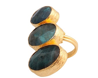 Verticle Three Small to Large Grey Labradorite Stones Ring