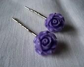 Purple Lilac Roses Bobby Pins