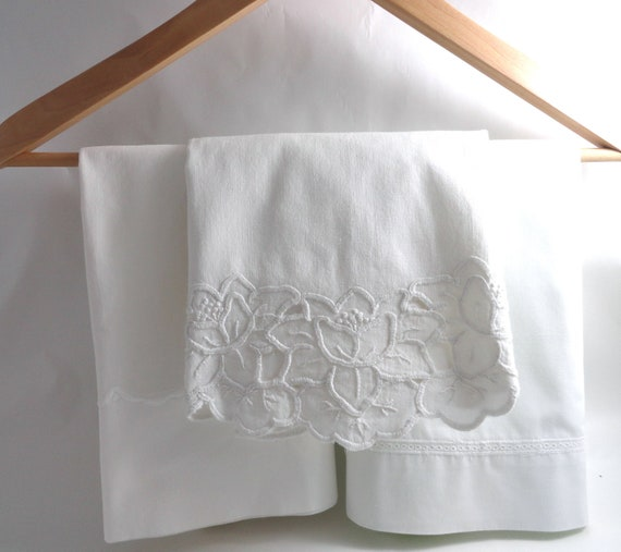 3 White cotton Pillowcases-Vintage mixed & matched set for a chic beach cottage bedroom or Shabby French country home