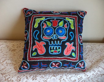 Skull and Flowers Hand Embroidered Shisha Pillow, Folk Art, Tulips, Skulls, Mirrors, Day of the Dead, Halloween, Macabre Art, Black