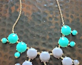 Teal, Grey, and White Color Blocked Bubble Statement Necklace