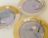 3 Plates Lustreware Japan Cherry Blossom Flowers Handpainted Lustre