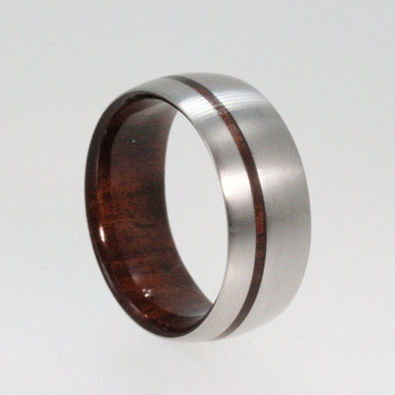 Wedding band with a Bolivian Rose Wood sleeve and Wood Pinstripe, Ring ...