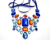 Gleaming Blue and Orange Floating Rhinestone Statement Necklace