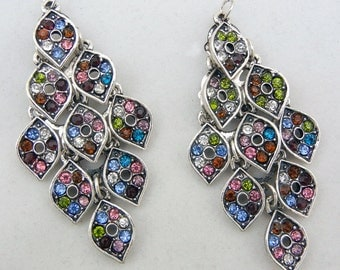 Pair of Antique Silver-tone Chandelier Drop Charms Multi-colored Rhinestones