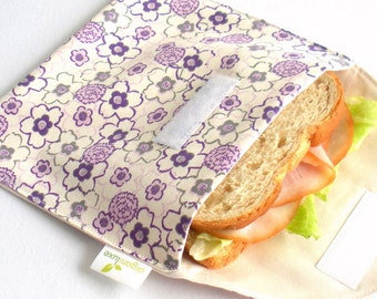 Girls Sandwich and Snack Bag Set of 2 - Eco Friendly, Organic Cotton - Purple Flowers --- Back to School