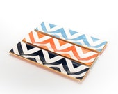 Handmade, Ceramic, Thin, Tray, Luxury, Gift, Gold Edged, Chevron, Navy, Coral, Turquoise