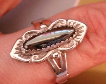 dead stock vintage WM Co. hematite sterling silver ring