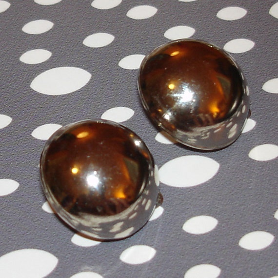 vintage silver clip on button style round earrings