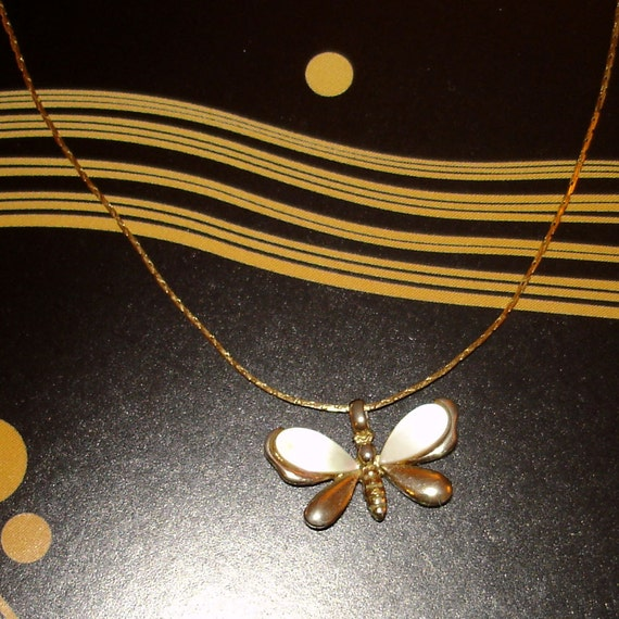 SALE vintage Trifari mother of pearl gold butterfly pendant necklace