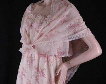 Vintage 70s Pink Floral Sheer Summer Dress w/Shawl Size 7 Bust 36 38