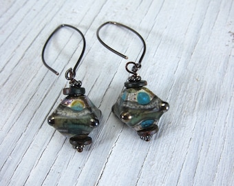 Earthy Aqua Earrings, Murano Glass Lampwork Earrings