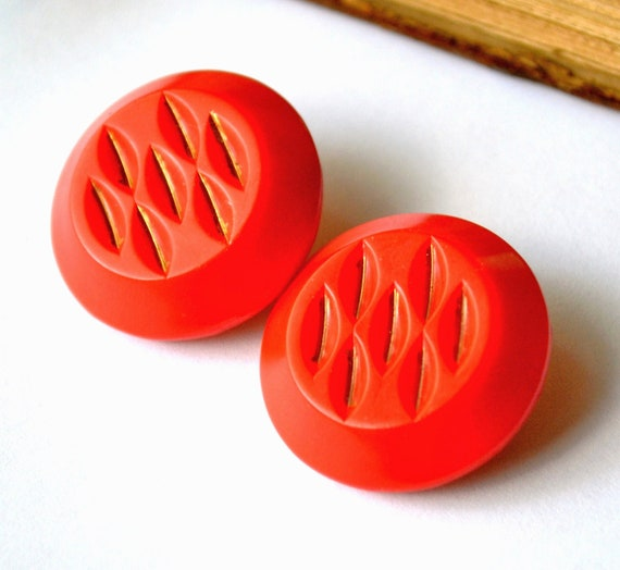 Vintage chunky red orange gold luster glass buttons X 2