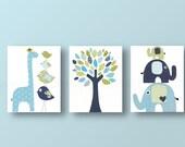 Giraffe nursery elephant nursery Baby Boy Nursery Decor tree art blue green navy nursery art baby wall art - Set of 3 Prints from Paris