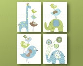 Giraffe nursery Decor elephant nursery wall art Kids wall art kids room decor baby nursery  Bird nursery Set of four prints GalerieAnais