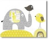 Kids wall art - childrens art print - kids wall art - kids room decor - elephant nursery - bird - yellow - gray - Travellers print