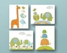 Baby boy Nursery decor owl nursery art giraffe nursery elephant nursery turtle Kids room decor children's art for Kids Set of four prints