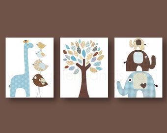 Zoo Nursery art prints Baby Boy nursery decor Elephant Nursery Giraffe Nursery wall art tree Kids Room Decor Set of 3 prints