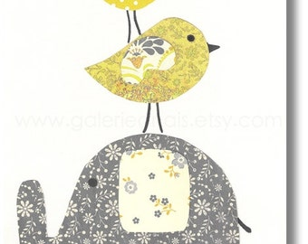 Elephant nursery yellow and gray Kids wall art - nursery decor - baby wall art - children art kids room decor - Best Friends print