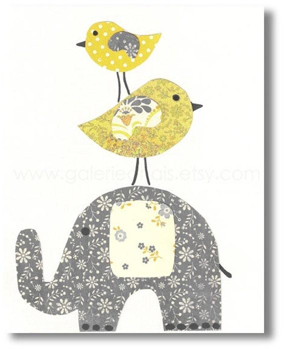 elefant kinderzimmer gelb und grau wand kinder kunst. Black Bedroom Furniture Sets. Home Design Ideas