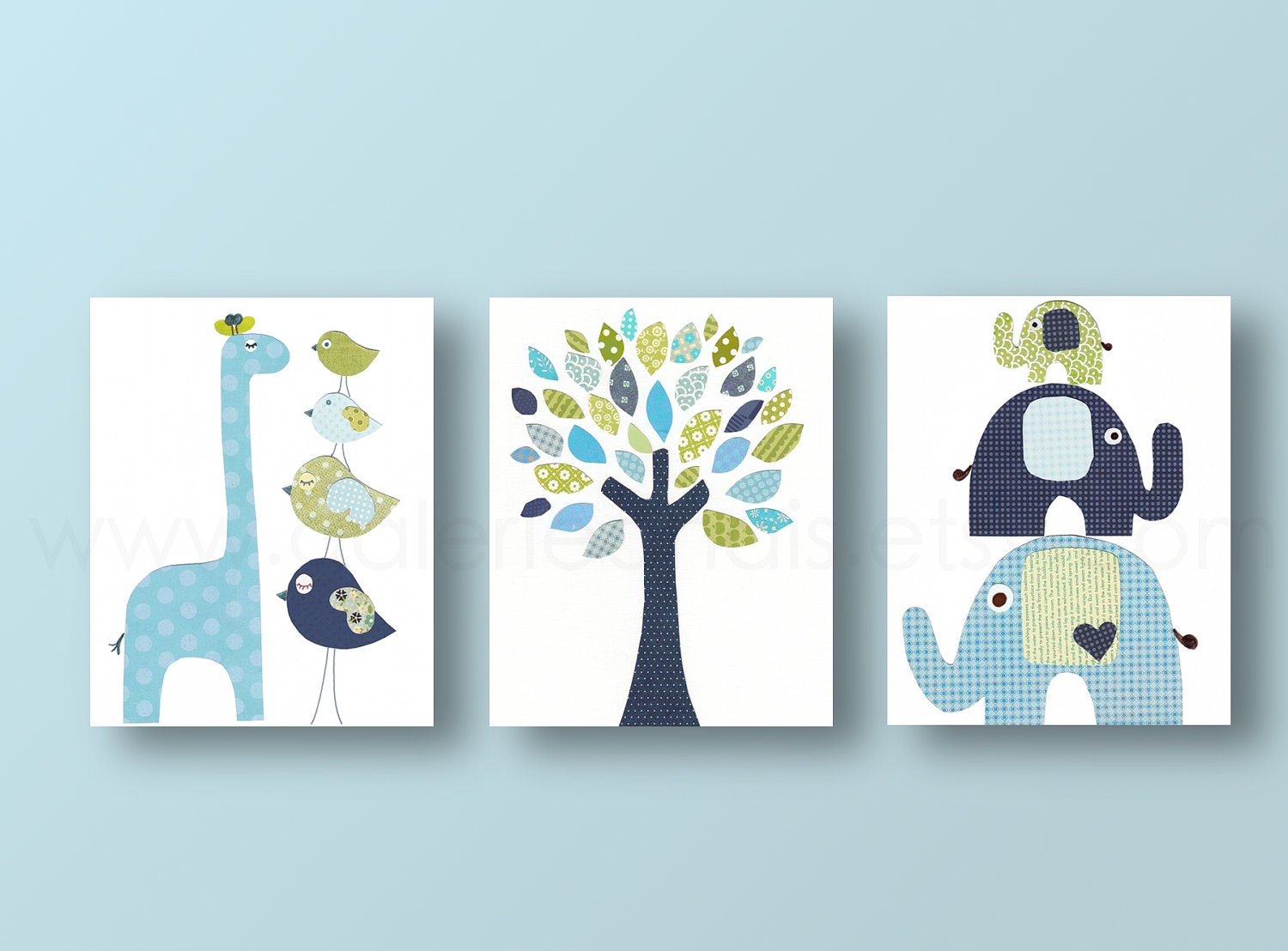 Boys nursery art prints baby nursery decor nursery art bird for Room decor etsy