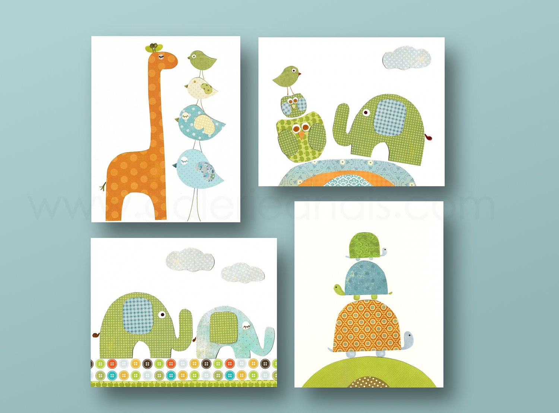 baby boy nursery decor wall art owl giraffe by galerieanais
