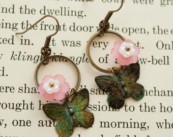 Flower and Butterfly Charm Earrings