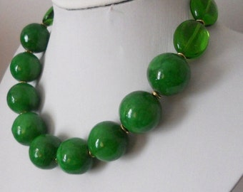 ON SALE SIOBHAN green jade statement necklace