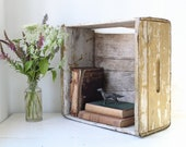 vintage 1920s farm crate. Olive green painted wood. Rustic primitive home decor, great book shelf for back to school / the FRESH EGGS box